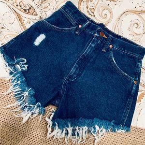 free people x wrangler denim shorts